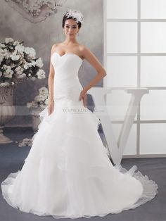 Ruffles Featured Strapless Organza and Satin Wedding Gown