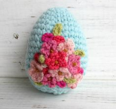 Easter Egg Pink Flowers on Blue - Totally making this!~~~oooo purrrrrrrrrrty!!