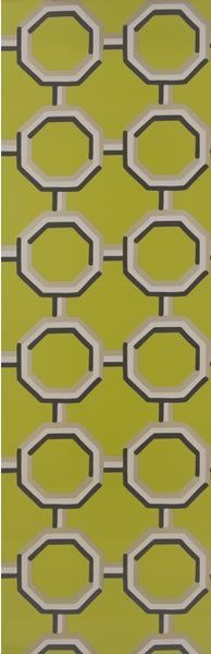 Designers Guild Darly Wallcoverings, Leopold Chartreuse, flexographic print on non-woven