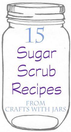DIY Sugar Scrub Recipes : Crafts with Jars: 15 Sugar Scrub Recipes in Jars Sugar Scrub Recipe, Sugar Scrub Diy, Sugar Scrubs, Salt Scrubs, Diy Body Scrub, Diy Scrub, Bath Scrub, Mason Jar Crafts, Mason Jars