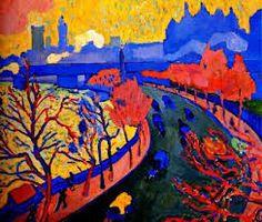 """peinture française : André Derain, 1906, """"Charing Cross Bridge, London"""", paysage, fauvisme, 1900s"""