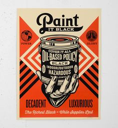 """Entitled """"Paint it black hand"""", this screen print by Shepard Fairey (Obey) is an edition of 450. Made in may 2014, it is signed and numbered by the artist. Format : 18 x 24 inches (46 x 61 cm). The work is sold unframed."""