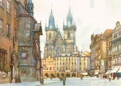 Watercolor of Old Town Square by Jaroslav Šetelík Urban Painting, Old Town Square, Urban Sketchers, Prague, Barcelona Cathedral, Watercolor, City, Watercolour, Watercolor Painting