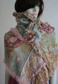 Fleurbonheur New for A/W . Feminine and romantic wool blend shawl (with brooch), hand dyed in shades of sea green, cream, dusty pink, faded blue. Both ends of