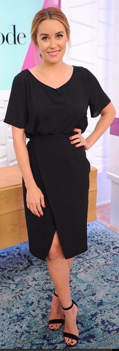 Who made Lauren Conrad's short sleeve top, wrap skirt, and black ankle strap sandals?