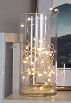 Vase mit Lichterkette drin 😍 Deko für den Nachttisch oder so