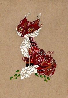 LWick ACEO *PRINT* zentangle inspired animal dog cat fox design art card