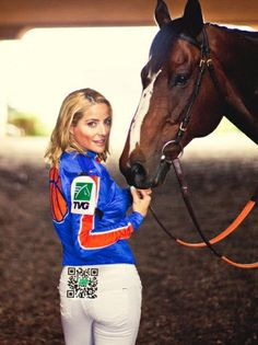 QR Code e una campagna marketing - - a QR code that will be positioned right on the seat of jockey Chantal Sutherland's pants.
