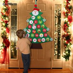 OurWarm Chirstmas Tree Advent Calendar 2018 New Year Decor Door Wall Hanging Felt Advent Calendars Xmas Decorations for Home