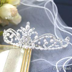 クレッセントジュエルのミニティアラ ミニ 大人可愛い エレガント 手作り 花嫁 結婚式 ウエディング ヘッドドレス パール