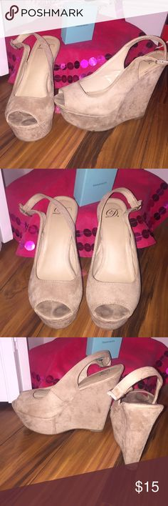 Suede Wedges Previously loved but got a new pair Super light and comfortable, it took me awhile to find ones I could walk in for awhile.  Still in good condition (see pictures) Add to a bundle to lower the price Shoes Wedges