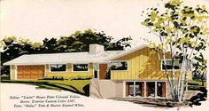 A fun slide show with illustrations of 1960s house exteriors and paint chip selections to help you choose an appropriate 1960s exterior house color scheme.