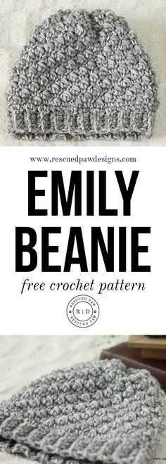 Emily Diagonal Slouch Beanie Crochet Pattern via @rescuedpaw