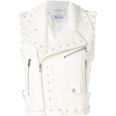 Red Valentino biker vest (1,800 CAD) ❤ liked on Polyvore featuring outerwear, vests, white, vest waistcoat, sleeveless waistcoat, white waistcoat, white sleeveless vest and white crop vest