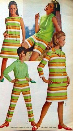 1960s fashion green orange stripe dress pants suit mod shoes hair models color photo print ad vintage