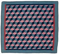 Tumbling Blocks quilt, circa 1910, by Mary Shrock.  Old Order Amish (Holmes County, Ohio).  Collection of Eleanor Bingham Miller.  Speed Art Museum (Kentucky)