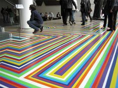 DIY Flooring with Jim Lambie: Gorgeous pop art installation with vinyl tape.