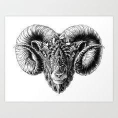 Ram+Head+Art+Print+by+BIOWORKZ+-+$16.00