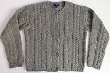 J Crew Gray Wool Fisherman Cable Knit Heavy Weight Cardigan Sweater M