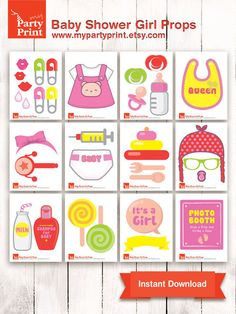 Baby Shower Photobooth Props Baby Girl  party by myPartyPrint, $6.00