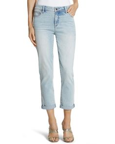 Nice fitting and good spring/summer color jean. Chico's So Slimming Sun-Faded Indigo Girlfriend Crop Jean #chicos