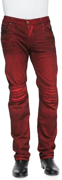 Robin's Jean 3D Denim Moto Pants, Red, Robin's Jean moto-inspired red with black wash denim pants.