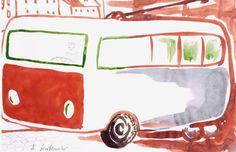 Andrzej Wróblewski - Trolejbus, lata 50-te, akwarela, papier Painting, Painting Art, Paintings
