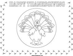 thanksgiving activity sheets for kids | Printable Turkey Place Mat Coloring Activity Sheet