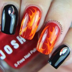 """PictureMyNails on Instagram: """"Some more #halloweennails or It would also fit nicely in the #harleydavidson world  @jessbudke  #flames Polishes used are @joshikpolish ✨Passion @orlynails ✨Melt your Popsicle (again) @opi_products ✨Black onyx and lastly some no name yellow."""""""
