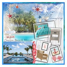 """dream beach house"" by summer-marin ❤ liked on Polyvore featuring interior, interiors, interior design, home, home decor, interior decorating, Uttermost, Threshold, Green Leaf Art and Americanflat"