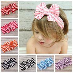 Fashion Hair Accessories Women Cotton Striped Headband Lady Girls Rabbit Ear Hair Bands Bowknot Headband Head Wrap,style 3 light blue