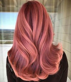 """27 Rose Gold Hair Color Ideas That Make You Say """"Wow!"""", Rose Gold Hair Color Gold Pink Hair Colors Fashion for certain colors and shades can walk in a circle for several years or regularly come back into us. Gold Hair Colors, Red Hair Color, Cool Hair Color, Red Pink Hair, Pink Wig, Fashion Hair Color, Peachy Hair Color, Dark Orange Hair, Long Pink Hair"""