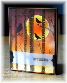 Downstairs Designs: Holiday Catalog samples - Among the Branches - Woodland EF Halloween Paper Crafts, Up Halloween, Halloween Cards, Fall Cards, Holiday Cards, Christmas Cards, Branches, Christmas Catalogs, Embossed Cards