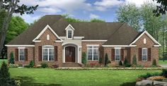 This European House Plan includes 3 bedrooms / 2.5 baths in 2369 sq ft of living space.  Its open floorplan layout is flexible and is ideal for your growing family.  Best of all, its designed to be affordable to build and includes all of the most popular features you're looking for in your next home design.    #houseplan #dreamhome #HPG-2369 #HousePlanGallery #houseplans #homeplans Small House Floor Plans, Simple House Plans, Family House Plans, Bedroom House Plans, Best House Plans, Brick Siding, Residential Construction, Building A New Home, Next At Home