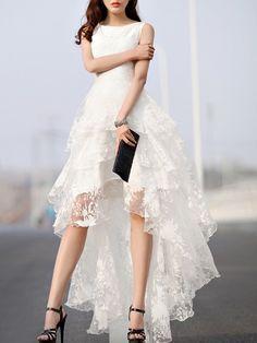 Weißes Blumendruck Gaze Gespleisst Multi Schicht Ärmelloses Hi lo Kleid