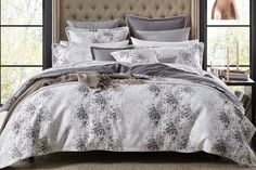 This stunning duvet cover by Florence Broadhurst offers a gorgeous texture adorned with a mixture of wintry mink shades and an eloquent floral pattern.