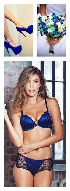 Blue push-up plunge bra and panty set from Adore Me Lingerie Satin Underwear  0abf877d2