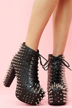 Spiked Platform Boot - Black Leather #studded #heels www.loveitsomuch.com