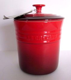 New RETIRED Le Creuset Stoneware Cerise Red Small 2 QT Canister, Storage Jar #LeCreuset