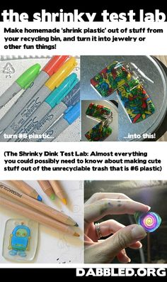 The Shrinky Dinky Test Lab - Make homemade 'shrink plastic' out of stuff from your recycling bin, and turn it into jewelry or other fun things! -- Look for plastic Diy Projects To Try, Crafts To Do, Craft Projects, Crafts For Kids, Arts And Crafts, Craft Ideas, 31 Ideas, Shrinky Dinks, Plastic Fou