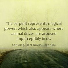 The serpent represents magical power, which also appears where animal drives are aroused imperceptibly in us. ~Carl Jung, Liber Novus, Page 366.
