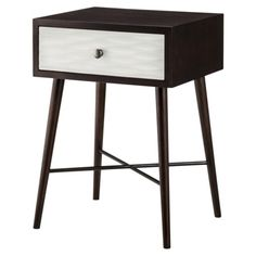 Threshold™ Modern Accent Table with Drawer - Espresso/White from Target- I am loving this shape and really like the white textured pattern! Home Decor Furniture, Accent Furniture, Table Furniture, Living Room Furniture, Espresso, Coffee Table To Dining Table, Colourful Living Room, White Nightstand, Home Decor Accessories