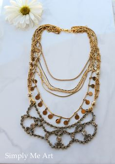 Vintage Rhinestone and Brass Layered Assemblage by simplymeart, $75.00