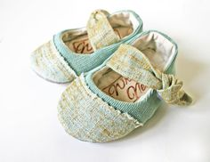 Mint and Gold Mary Jane for Girls baby shoe by WrensNestBabyShoes, $32.00