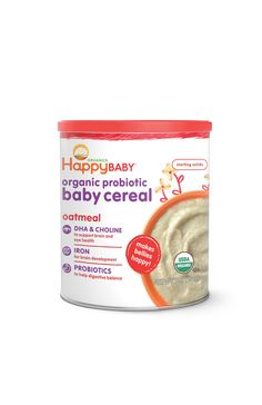 Happy Baby Organic Probiotic Baby Cereal with DHA & Choline, Oatmeal, 7-Ounce Canisters (Pack of 6): Amazon.com: Grocery & Gourmet Food