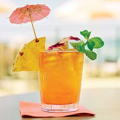 Mai Tai    This classic rum-based cocktail recipe, infused with the citrus flavors of orange curaçao, orange juice, and lime juice, is the perfect drink to enjoy at the beach–or when you're dreaming of being there.