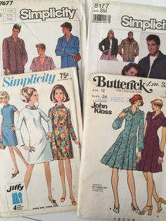 Vtg Pattern Mixed lot JOHN KLOSS Butterick Size 10 12 Bust 34 USA Large 60s #ButterickSimplicity