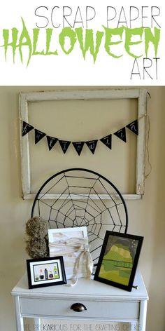Scrap Paper Halloween Art - Love this easy Halloween decor!