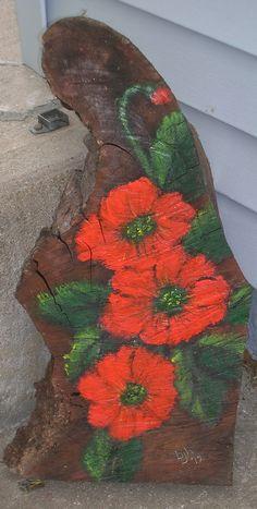 acrylic painted tree stump