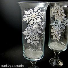 Snowflake-etched glass hurricane vases ~ Madigan Made { simple DIY ideas }